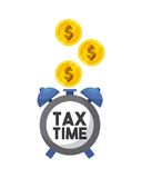 Tax time design. Watch with gold coins over blue background. tax time design. vector illustration Stock Image