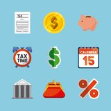 Tax time flat icons. Vector illustration design Royalty Free Stock Images