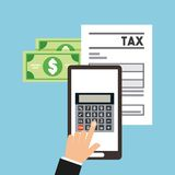 Tax time flat icons. Vector illustration design Stock Illustration