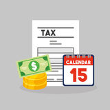 Tax time flat line icons. Illustration design Stock Image