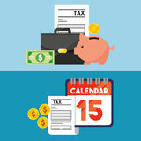 Tax time flat line icons. Illustration design Royalty Free Stock Photography