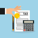 Tax time flat line icons. Illustration design Royalty Free Stock Photo