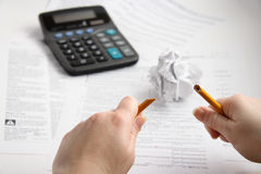 Tax time frustrations. When accountant gets emotional and frustrated Royalty Free Stock Images
