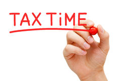 Tax Time Red Marker Stock Photography