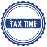 TAX TIME stamp. sticker. seal. blue round grunge vintage ribbon sign. Illustration Royalty Free Stock Photography