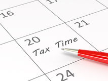 Tax Time words  on a calendar Stock Image