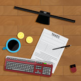 Tax top view. Taxation and accounting balance, account and monitor vector, concept calculation tax illustration Stock Photos