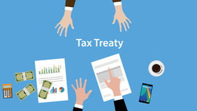 Tax treaty concept illustration with two business man negotiate on the table view from top Stock Images