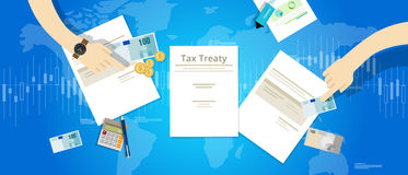 Tax treaty between country international agreement deals Royalty Free Stock Photo