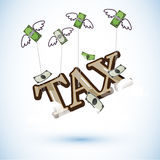Tax typographic soar by flying bank note money by money. Royalty Free Stock Photography