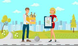 Tax Vector Guy Young Yellow Box Lot of Dollars. Tax Vector Flat Guy Young Yellow Box Lot Dollars. Woman in Red Dress with Tax Forms Document. Man with Shackle stock illustration