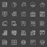 Tax white line icons. Tax line icons. Vector collection of white outline taxes concept symbols. Pay taxes online linear signs on dark background Royalty Free Stock Photography