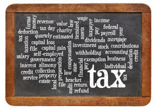Tax  word cloud on blackboard Stock Photo