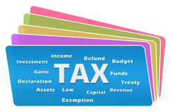 Tax Word Cloud Colorful Squares Stack. Tax help text with related word cloud over colorful background Stock Photos