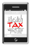 Tax Word Cloud Concept on Touchscreen Phone Stock Images