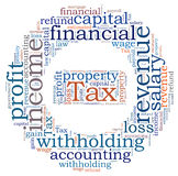 Tax word cloud Royalty Free Stock Photos