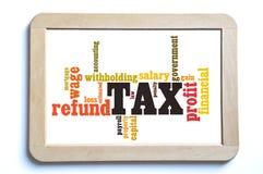 Tax word cloud Royalty Free Stock Photos
