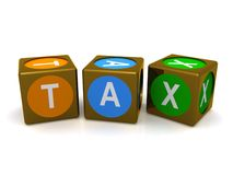 Tax word cubes Stock Photos