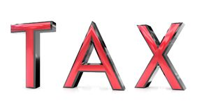 Tax 3d word. The tax word 3d rendered red and gray metallic color , isolated on white background Stock Photos