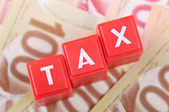 Tax word on money Royalty Free Stock Images