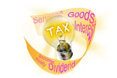 Tax. As a bulb lightens its light, taxes are imposed on goods and services transactions, business income, interest, dividends,. Tax. The word tax in a bulb stock photos