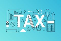 Tax word trendy composition banner. Outline stroke tax payments, financial law consulting, refund, business income. Report. infographic concept. Flat line icons vector illustration