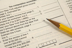 Tax Worksheet. Photo of a Tax Workseet Royalty Free Stock Images