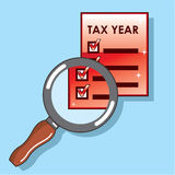 Tax Year Magnifying Glass Vector Zoom. Eps file Royalty Free Stock Images