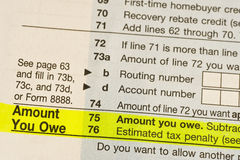 Tax You Owe. Tax form showing amount you owe Royalty Free Stock Images