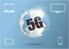 Taxa da alta velocidade do Internet da conex?o de rede global 5G Linha neg?cio de interc?mbio de dados do ponto do mundo da tecno ilustração do vetor