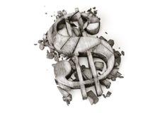 Taxa de câmbio do dólar para baixo rendição 3D do símbolo de pedra destruído do dólar em um fundo branco fotos de stock royalty free