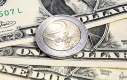 Taxa de câmbio do euro do dólar   Imagens de Stock