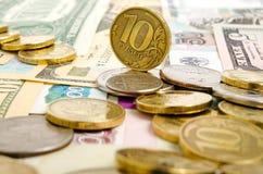 Taxa de câmbio do rublo Fotografia de Stock