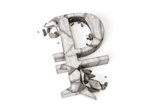 Taxa de câmbio do rublo de russo para baixo rendição 3D do símbolo de pedra destruído do rublo em um fundo branco imagem de stock royalty free