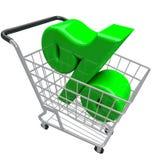 Taxa de juro da inflação dos por cento do carrinho de compras do sinal de porcentagem Imagens de Stock Royalty Free