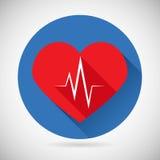 Taxa do batimento cardíaco do símbolo dos cuidados médicos e dos cuidados médicos Imagens de Stock Royalty Free