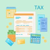 Taxation concept. State Government tax payment, calculation. Unfilled blank tax form, financial calendar, checks. Payday icon. Vector illustration Royalty Free Stock Image