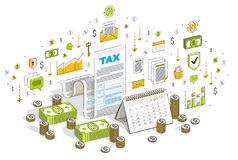 Taxation concept, tax form or paper legal document with cash mon. Ey stacks and calendar isolated on white. Isometric 3d vector finance illustration with icons Royalty Free Stock Photo