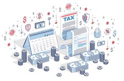 Taxation concept, tax form or paper legal document with cash mon stock photo