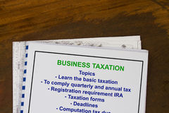 Taxation seminar. With topics on a cover sheet Royalty Free Stock Photos