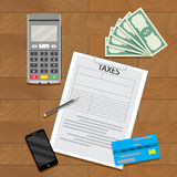 Taxation transaction concept. Vector accounting finance business illustration Royalty Free Stock Images