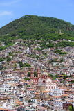 Taxco cathedral and houses Royalty Free Stock Images