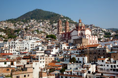 Taxco houses and Church Royalty Free Stock Photo