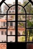Taxco houses through door Royalty Free Stock Photos
