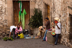 Taxco Street Peddlers Stock Photo