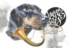 Taxen designer för jägarehundkapplöpningkortet, den redigerbara logoen, kan du skriva in din logo eller text Arkivfoto