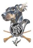 Taxen designer för jägarehundkapplöpningkortet, den redigerbara logoen, kan du skriva in din logo eller text Royaltyfri Foto