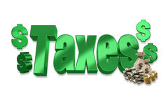Taxes. Shiny green 3D taxes with money Stock Photo