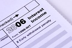 Taxes. 1099-INT Interest Income 2006 tax form on white background Stock Image