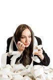 Taxes. Conceptual photo of woman with calculator calculating her taxes Royalty Free Stock Photos